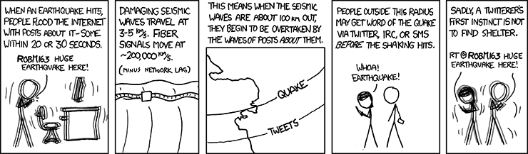 Information travels much faster than seismic waves, Image used under a creative commons licence from xkcd comics.