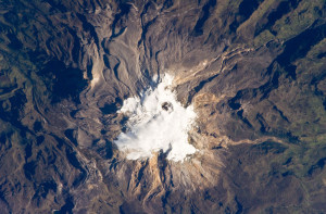 Nevado del Ruiz volcano in Colombia photographed by  the International Space Station crew in 2010. Image by NASA, used under a CC-by-NC 2.0 licence from Flikr