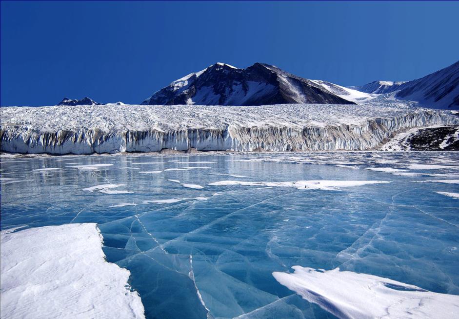 Refrozen glacial meltwater at Canada Glacier in Antarctica