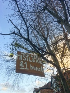 A local resident's Christmas sales of mistletoe in West Bridgford, Nottingham
